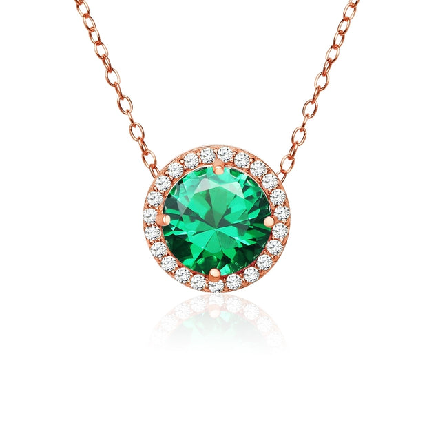 Rose Gold Flashed Sterling Silver Created Emerald and Cubic Zirconia Round Halo Necklace