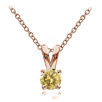 Rose Gold Flashed Sterling Silver Citrine 5mm Round Solitaire Necklace