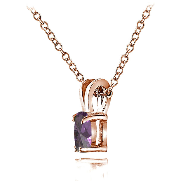 Rose Gold Flashed Sterling Silver Created Alexandrite 6x4mm Oval Solitaire Necklace