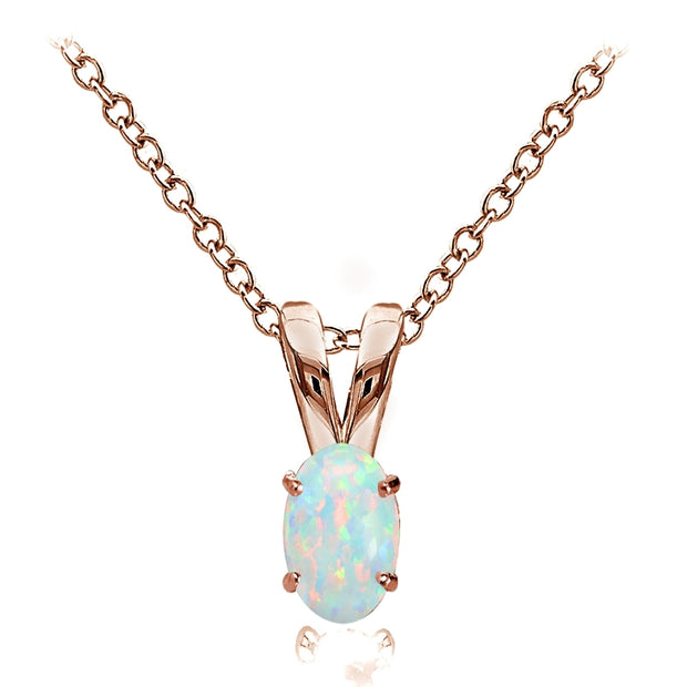 Rose Gold Flashed Sterling Silver Simulated White Opal 6x4mm Oval Solitaire Necklace