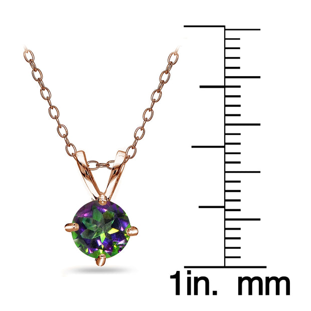 Rose Gold Flashed Sterling Silver Green Mystic Topaz Round Solitaire Necklace, 6mm