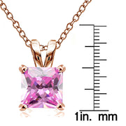 Rose Gold Tone over Sterling Silver 9.5ct Light Pink Cubic Zirconia 12mm Square Solitaire Necklace