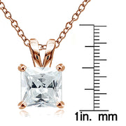 Rose Gold Tone over Sterling Silver 9.5ct Cubic Zirconia 12mm Square Solitaire Necklace