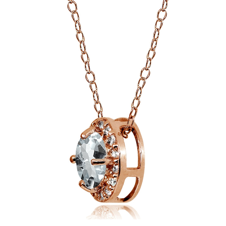 Rose Gold Flashed Sterling Silver Aquamarine and Cubic Zirconia Accents Round Halo Necklace