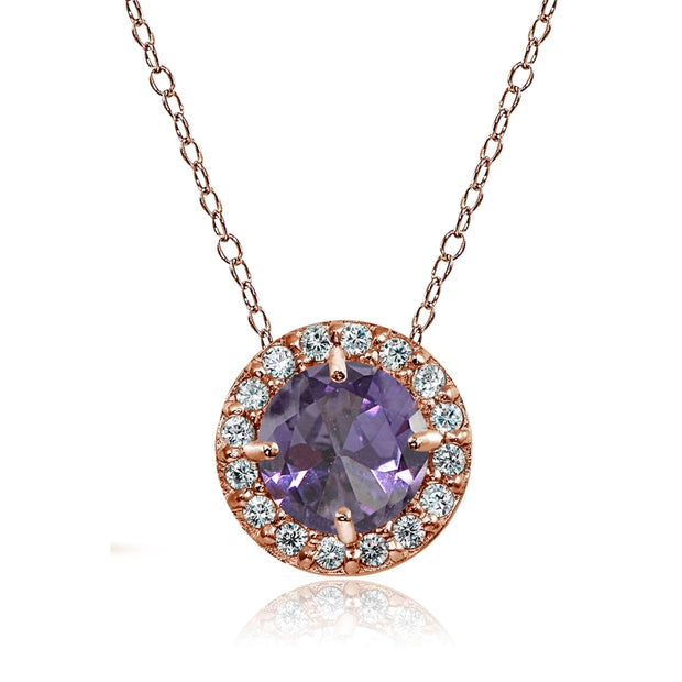 Rose Gold Flashed Sterling Silver Created Alexandrite and Cubic Zirconia Accents Round Halo Necklace
