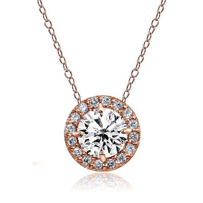 Rose Gold Flashed Sterling Silver Created White Sapphire Round Halo Necklace