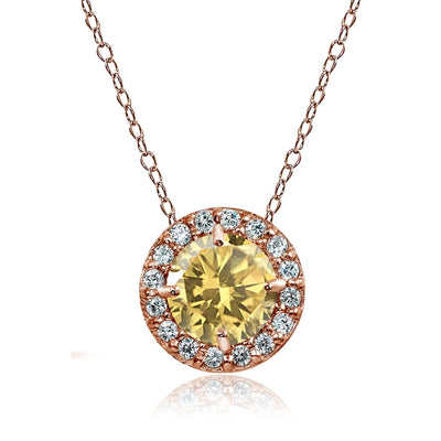 Rose Gold Flashed Sterling Silver Citrine and Cubic Zirconia Accents Round Halo Necklace