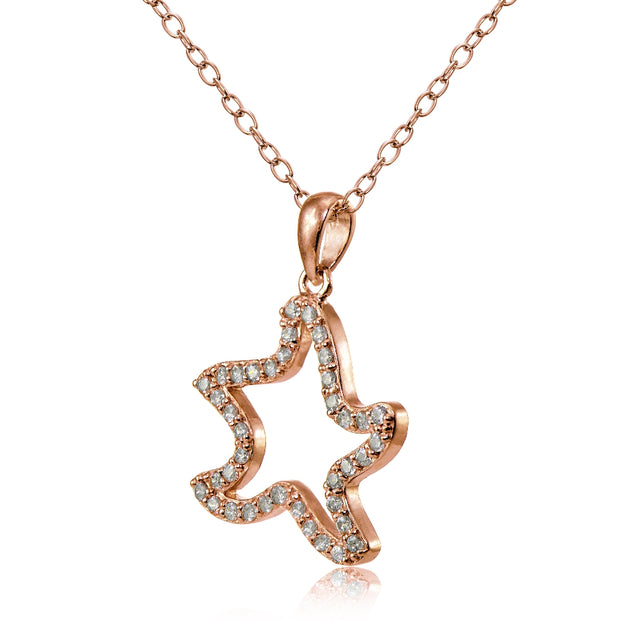 Rose Gold Flashed Sterling Silver Cubic Zirconia Starfish Necklace