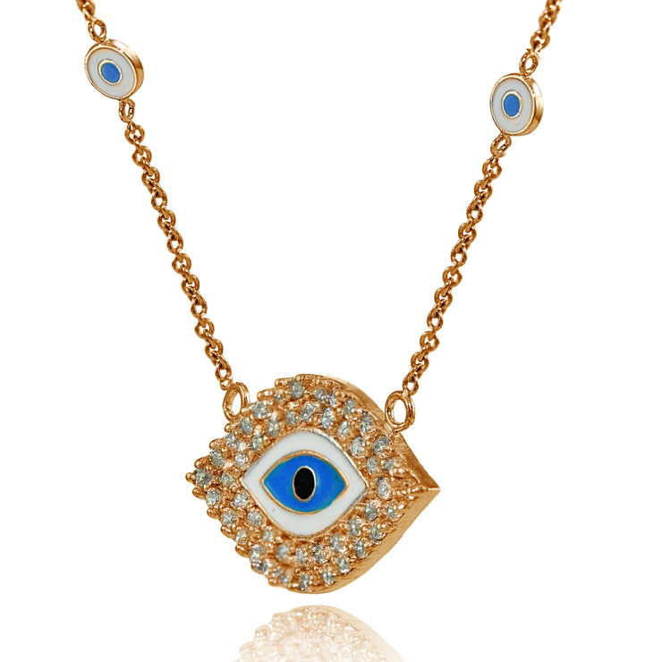 Rose Gold Flashed Sterling Silver Cubic Zirconia and Multi Colored Enamel Evil Eye Necklace