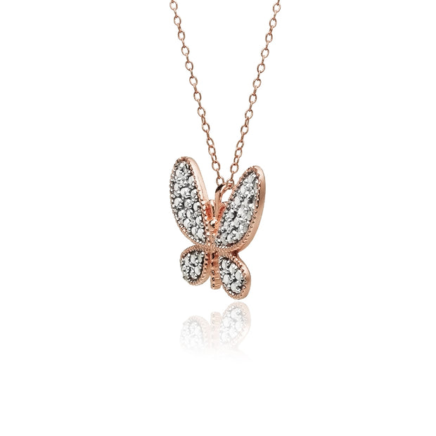 Rose Gold Flashed Sterling Silver Butterfly Diamond Accent Pendant Necklace, JK-I3