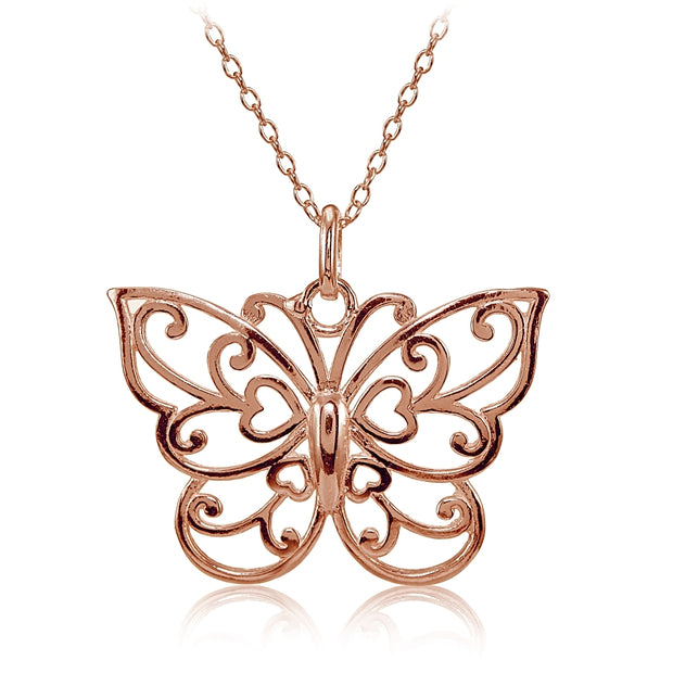 Rose Gold Flashed Sterling Silver High Polished Filigree Butterfly Necklace
