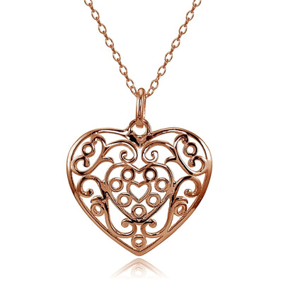 Rose Gold Flashed Sterling Silver High Polished Filigree Heart Necklace