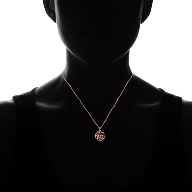 Rose Gold Flashed Sterling Silver High Polished Diamond-cut Filigree Rose Flower Pendant Necklace