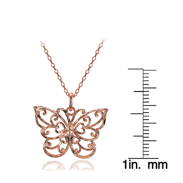 Rose Gold Flashed Sterling Silver High Polished Diamond-cut Filigree Butterfly Pendant Necklace