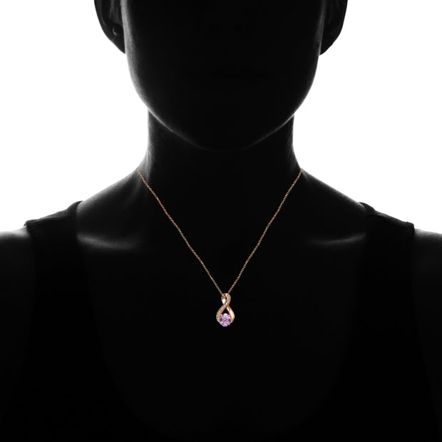 Rose Gold Flashed Sterling Silver Created Amethyst Oval Infinity and CZ Accents Necklace
