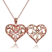Rose Gold Flashed Sterling Silver Two-Tone Polished Diamond-Cut Heart Filigree Picture Locket Necklace
