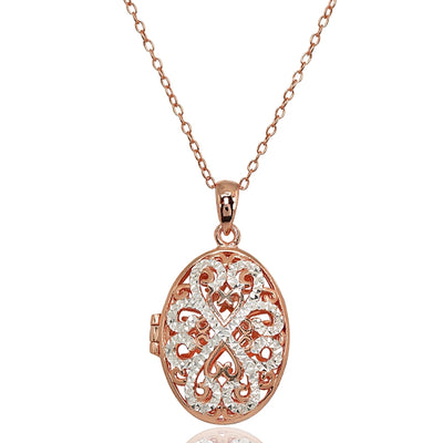 Rose Gold Flashed Sterling Silver Two-Tone Polished Diamond-Cut Oval Filigree Picture Locket Necklace