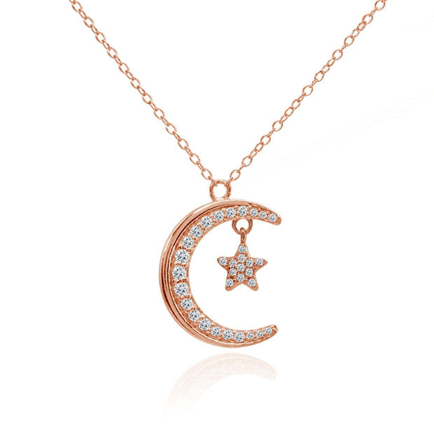 Rose Gold Flashed Sterling Silver Crescent Moon and Star Polished Round Cubic Zirconia Necklace