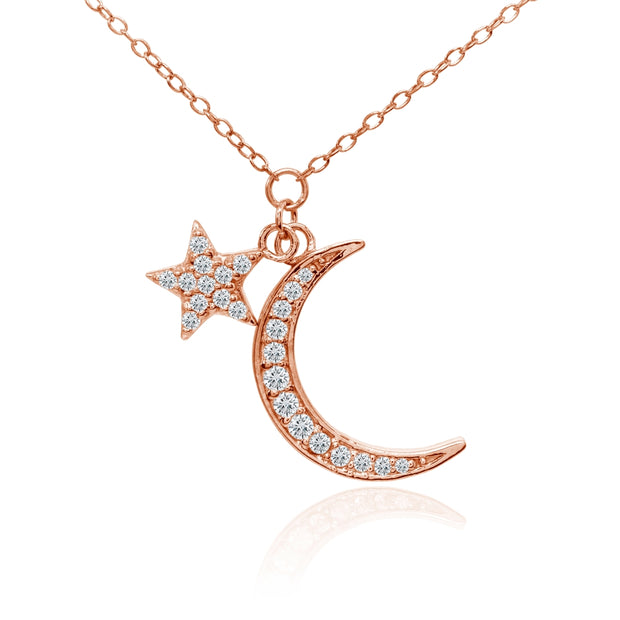 Rose Gold Flashed Sterling Silver Cubic Zirconia Polished Moon and Star Dainty Minimalist Necklace