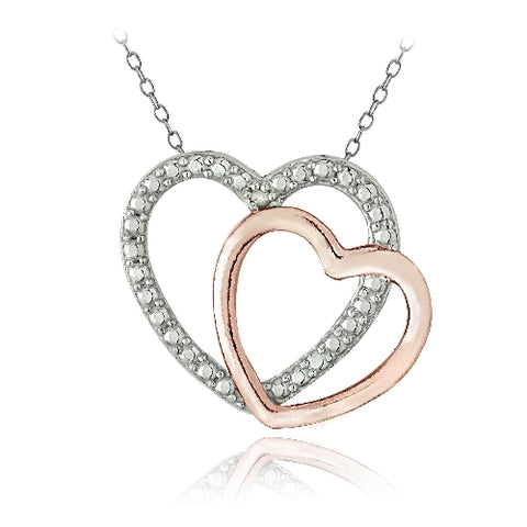 Sterling Silver Two Tone Rose Gold Tone Diamond Accent Double Open Heart Necklace