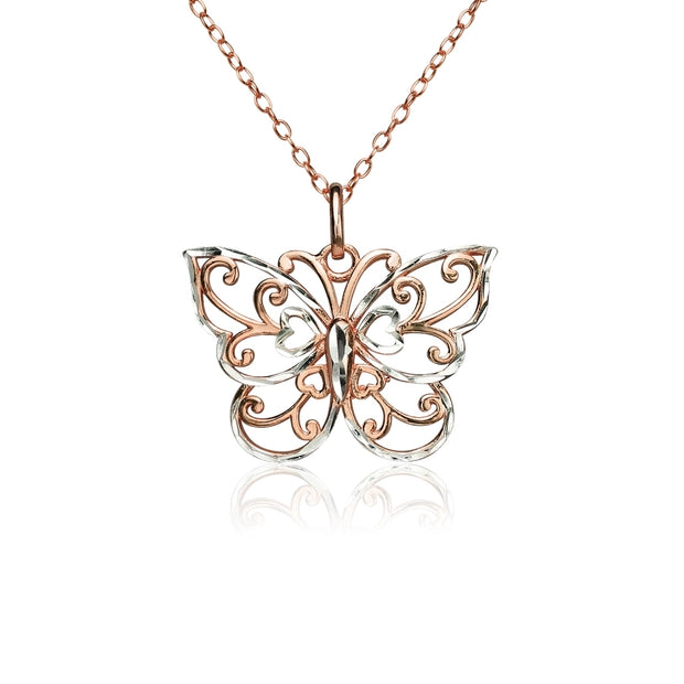 Rose Gold Flashed Sterling Silver Two-Tone  Diamond-cut Filigree Butterfly Pendant Necklace