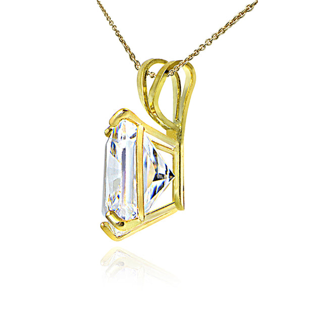 14K Yellow Gold 1.30CTTW Cubic Zirconia Square Solitaire Necklace, 6mm