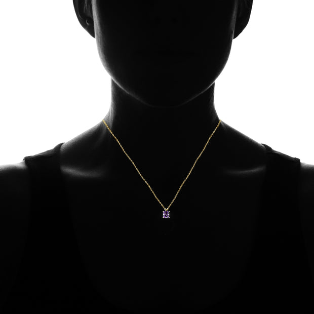 14k Yellow Gold African Amethyst 5mm Princess-Cut Pendant Necklace