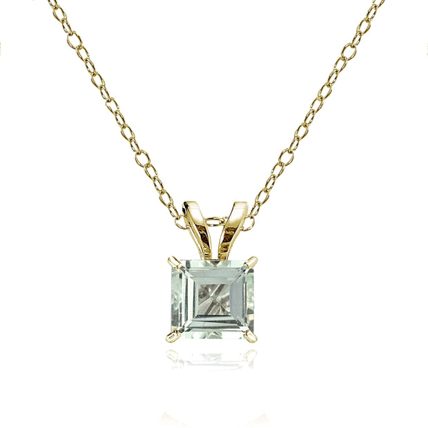 14k Yellow Gold Light Aquamarine 5mm Princess-Cut Pendant Necklace