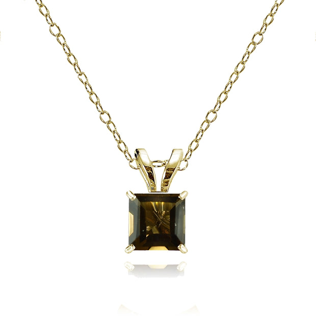 14k Yellow Gold Smoky Quartz 5mm Princess-Cut Pendant Necklace