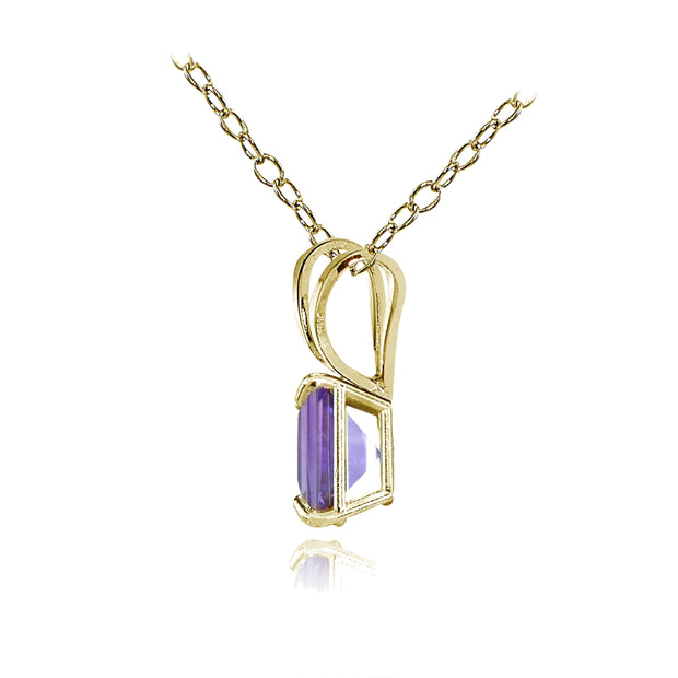 14k Yellow Gold African Amethyst 6mm Princess-Cut Pendant Necklace