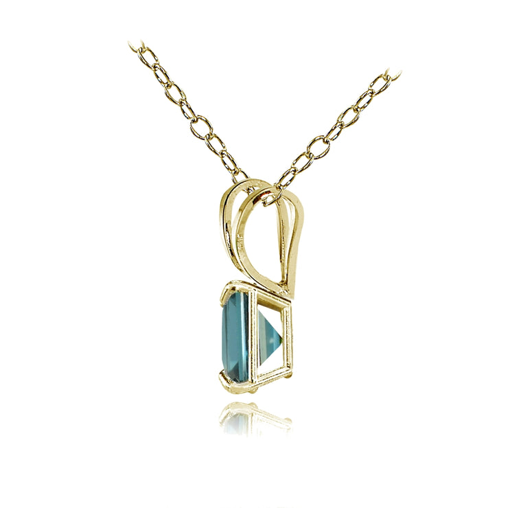 14k Yellow Gold London Blue Topaz 6mm Princess-Cut Pendant Necklace