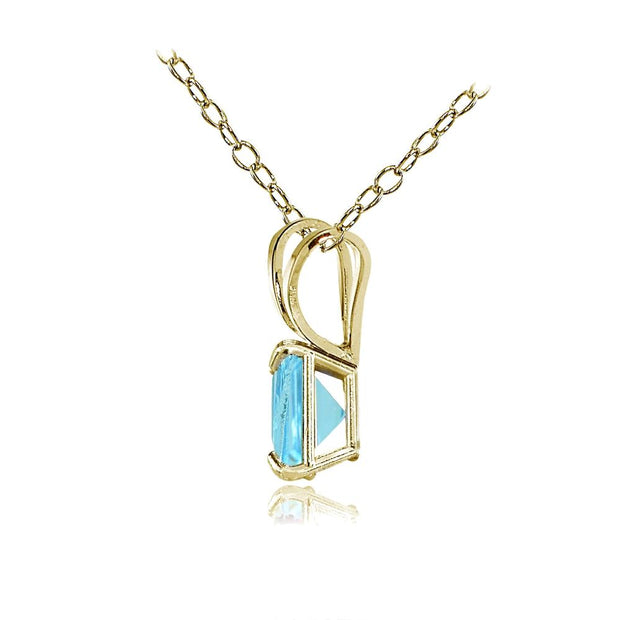 14k Yellow Gold Princess-Cut Pendant Necklace