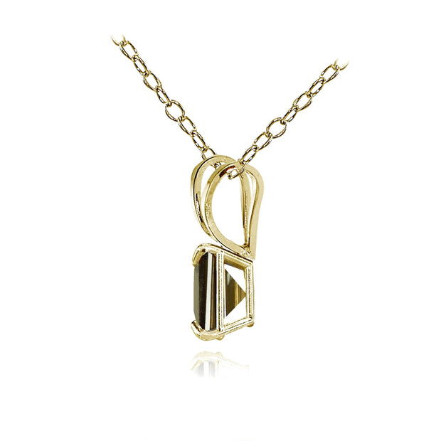 14k Yellow Gold Smoky Quartz 6mm Princess-Cut Pendant Necklace