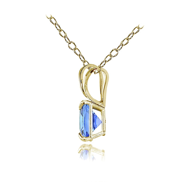 14k Yellow Gold Tanzanite 6mm Princess-Cut Pendant Necklace