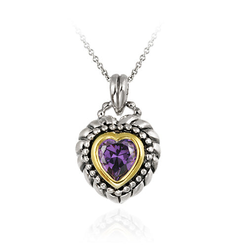 Sterling Silver Two Tone Designer Inspired Purple CZ Heart Pendant w/ Braided Border