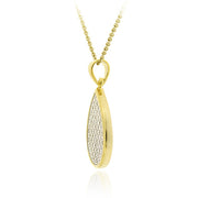 18K Gold over Sterling Silver CZ Micro Pave Teardrop Two-Tone Pendant