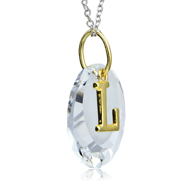 "Sterling Silver Two-Tone ""L"" Initial Necklace made with Swarovski Elements, 18"""