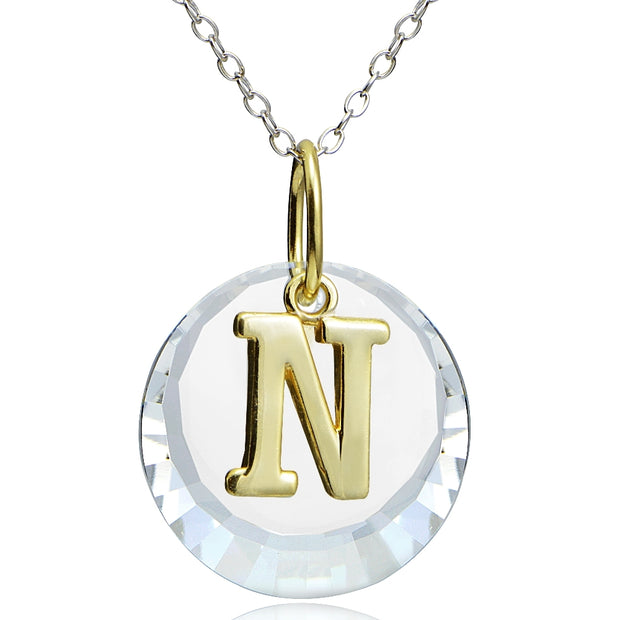 "Sterling Silver Two-Tone ""R"" Initial Necklace made with Swarovski Elements, 18"""