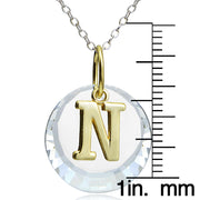 "Sterling Silver Two-Tone ""T"" Initial Necklace made with Swarovski Elements, 18"""