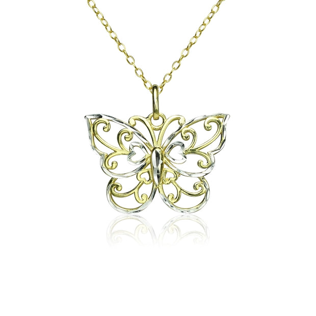 Yellow Gold Flashed Sterling Silver Two-Tone  Diamond-cut Filigree Butterfly Pendant Necklace