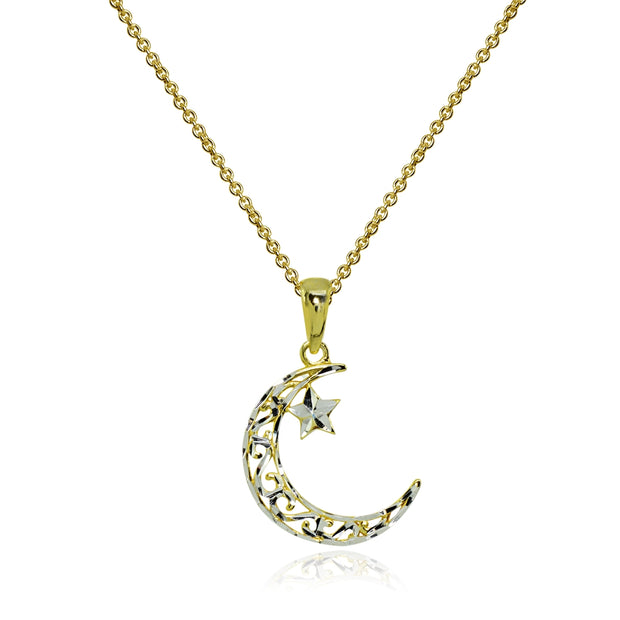 Two-Tone Yellow Gold Flashed Sterling Silver Polished Crescent Moon and Star Celestial Pendant Necklace