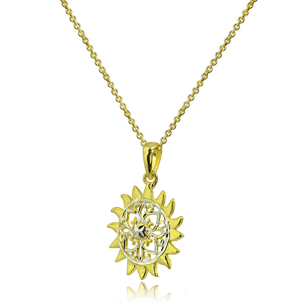 Two-Tone Yellow Gold Flashed Sterling Silver Polished Sun Celestial Filigree Pendant Necklace