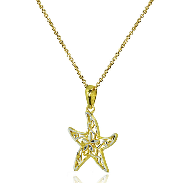 Two-Tone Yellow Gold Flashed Sterling Silver Polished Sea Starfish Filigree Pendant Necklace