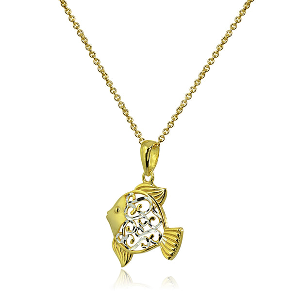 Two-Tone Yellow Gold Flashed Sterling Silver Polished Fish Animal Filigree Pendant Necklace
