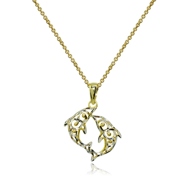 Two-Tone Yellow Gold Flashed Sterling Silver Polished Two Dolphins Filigree Pendant Necklace