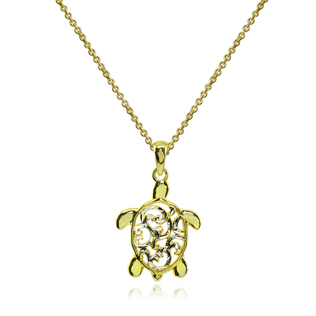 Two-Tone Yellow Gold Flashed Sterling Silver Polished Sea Turtle Filigree Pendant Necklace