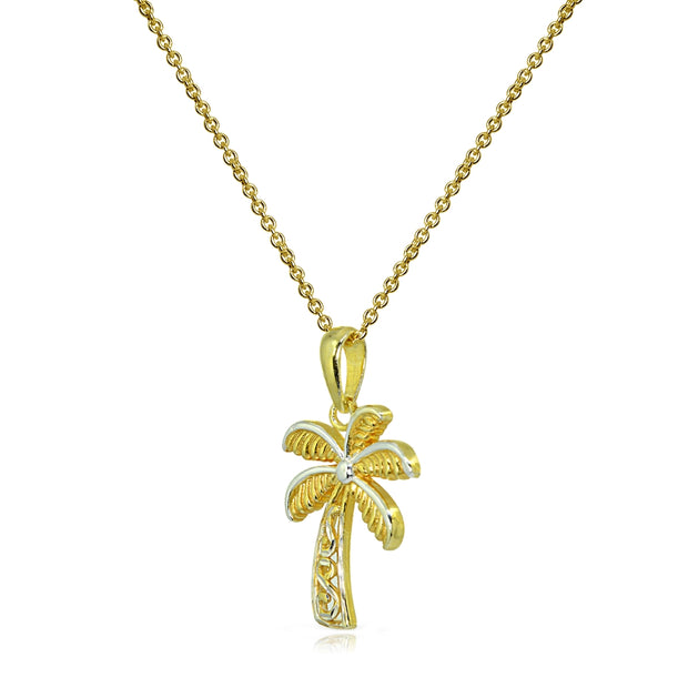 Two-Tone Yellow Gold Flashed Sterling Silver Polished Palm Tree Summer Filigree Pendant Necklace