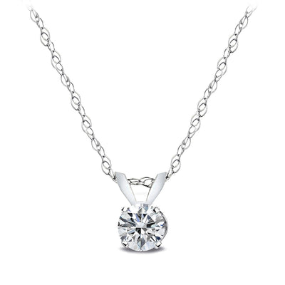 1/4 Carat Round Diamond 14K Gold Solitaire Necklace (G-H, I2)