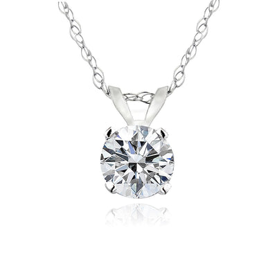 1/3 ct Round Diamond 14K Gold Solitaire Necklace (G-H, I2)
