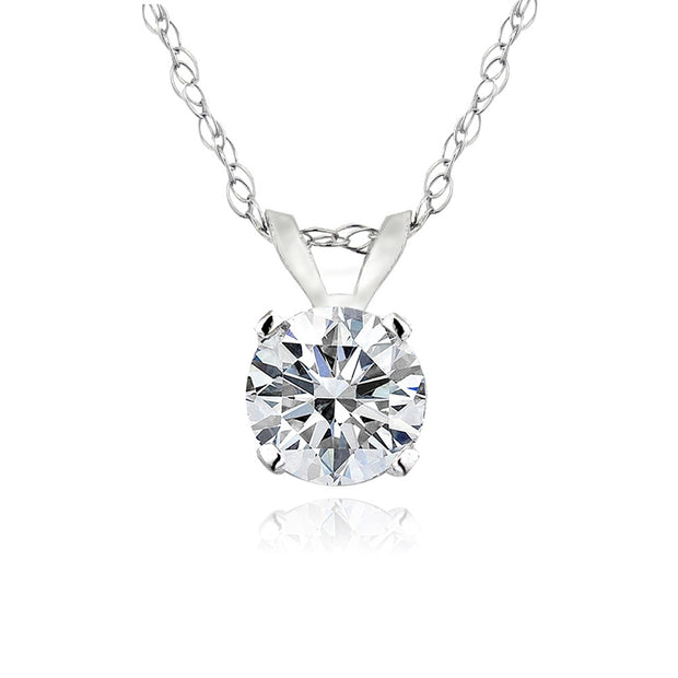 1/3 Carat Round Diamond 14K Gold Solitaire Necklace (G-H, I2)